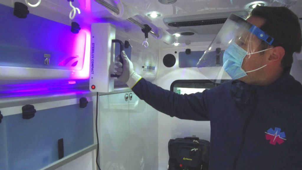 SterilUV Compact - UV disinfection of all interior surfaces of an ambulance.